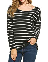 eshion Women's Round Neck Striped Stretch Basic T Shirt Tops Long Sleeve Blouse