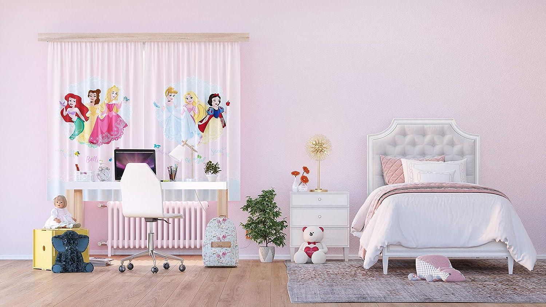 180 x 160 cm AG Design Princesas en candado Multicolor 2 Piezas Disney Cortinas para habitaci/ón Infantil