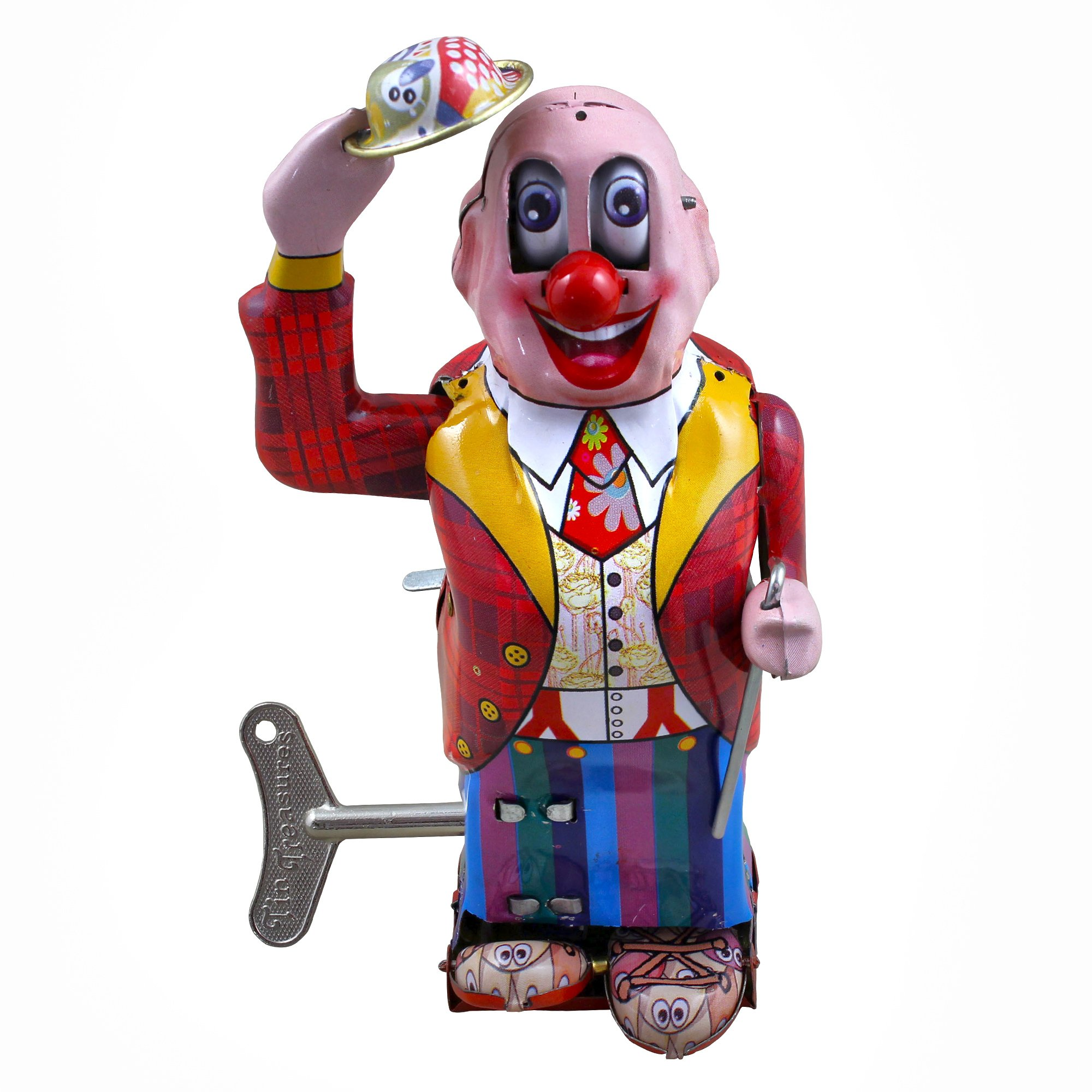 RoyaltyRoute Vintage Wind-up Tin Toys Collectibles Dandy Clown Joker