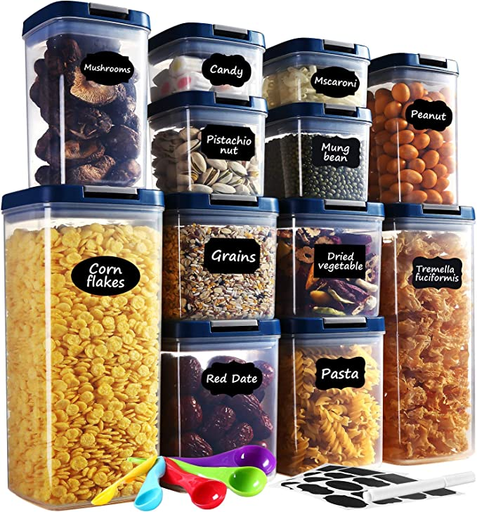 Amazon.com: Food Storage Container with Lids Airtight, AUCEE 12pcs BPA-Free Dry Food Plastic Containers Storage Set Kitchen Pantry Organization and Storage with 24 Labels/ 1 Maker/ 5 Measuring Spoons: Kitchen & Dining