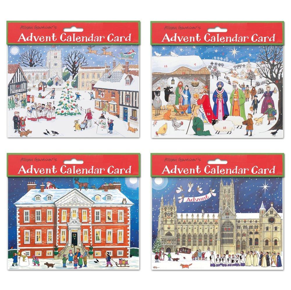 Alison Gardiner Pack of 4 Traditional Advent Calendar Cards -Mixed Alison Gardiner Designs Ltd