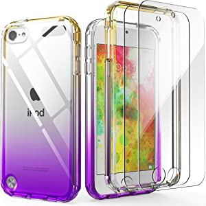 iPod Touch 7th Generation Case, IDweel Anti-Scratch Soft-Grip Bumper Case Cover with 2 Screen Protector Transparent and Slim Fit Full Protection Protective Shell for Apple iPod 5/6/7th, Yellow Purple