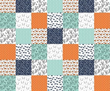 Amazon.com: Deer Fabric - Deer Quilt Fabric/Patchwork Cheater ... : orange quilt fabric - Adamdwight.com