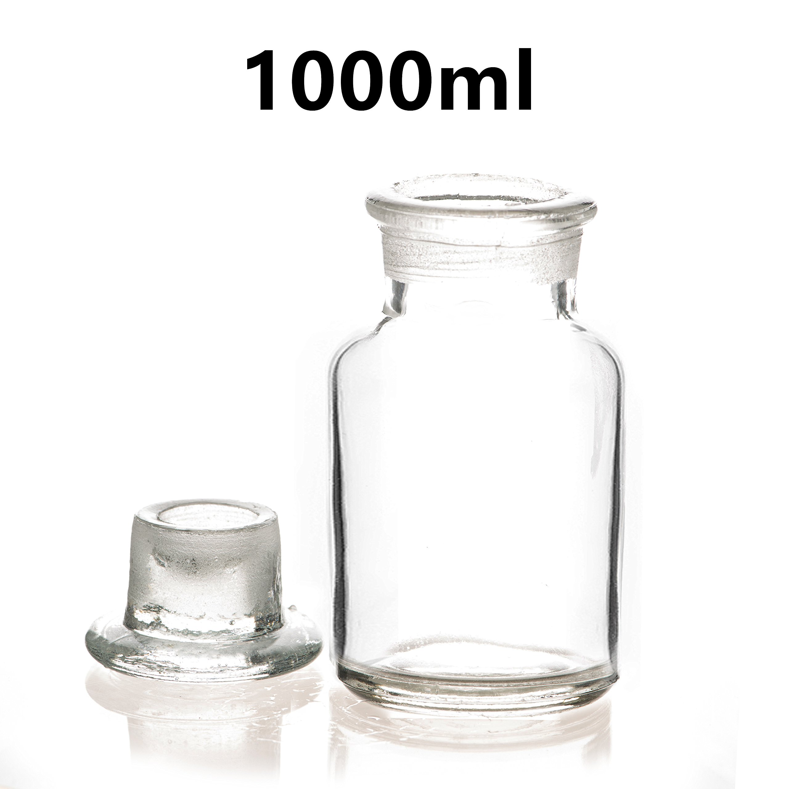 1000ml Lab Reagent Sample Bottle Clear Glass Wide Mouth Bottle with Glass Lid Bottle Laboratory Supplies Reagent Sampling Bottle (Pack of 5)