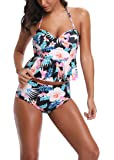 Anbech Women Vintage Floral Peplum Push up Swimsuit High Waist Tankini