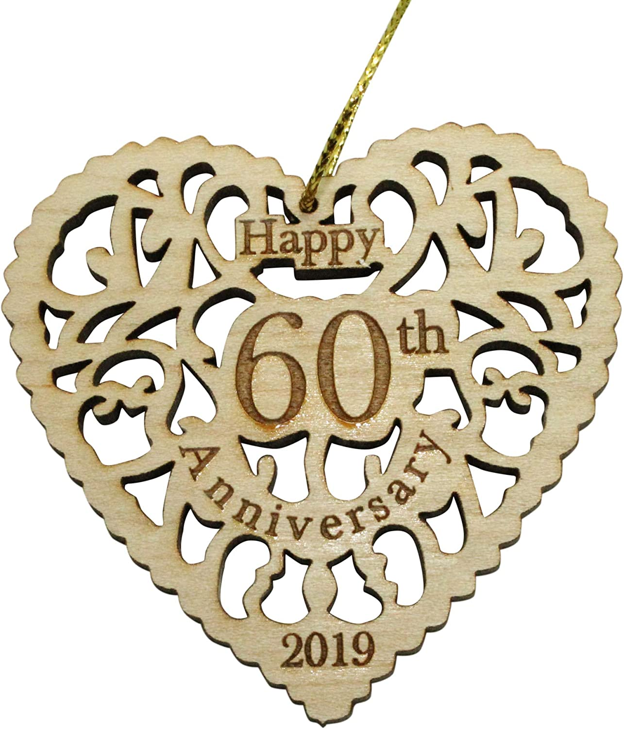 Comes In A Pretty Organza Gift Bag So It S Ready To Give Heart Shaped Happy Anniversary Ornament 60th Beautiful Laser Cut Wood Detail Twisted Anchor Trading Co 60th Anniversary Ornament 2019