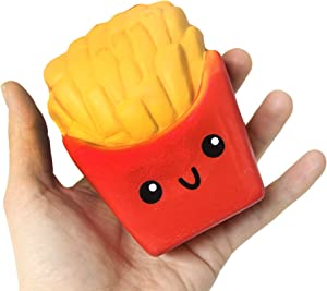 Curious Minds Busy Bags Large French Fries Squishy Slow Rise Junk Food Face - Sensory, Stress, Fidget Toy