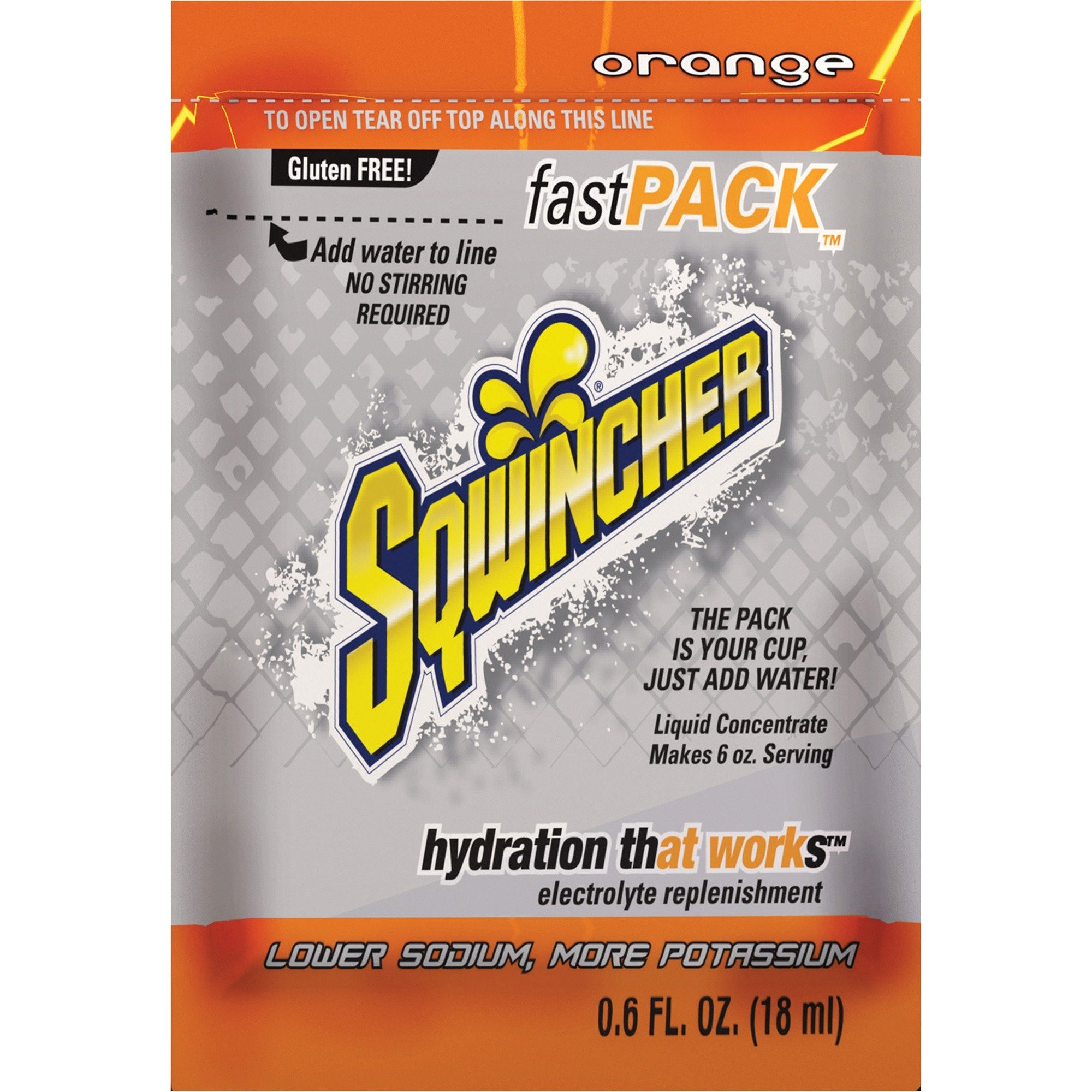Sqwincher 015304OR Fast Pack Drink Package, Orange.6oz Packet, 200/Carton