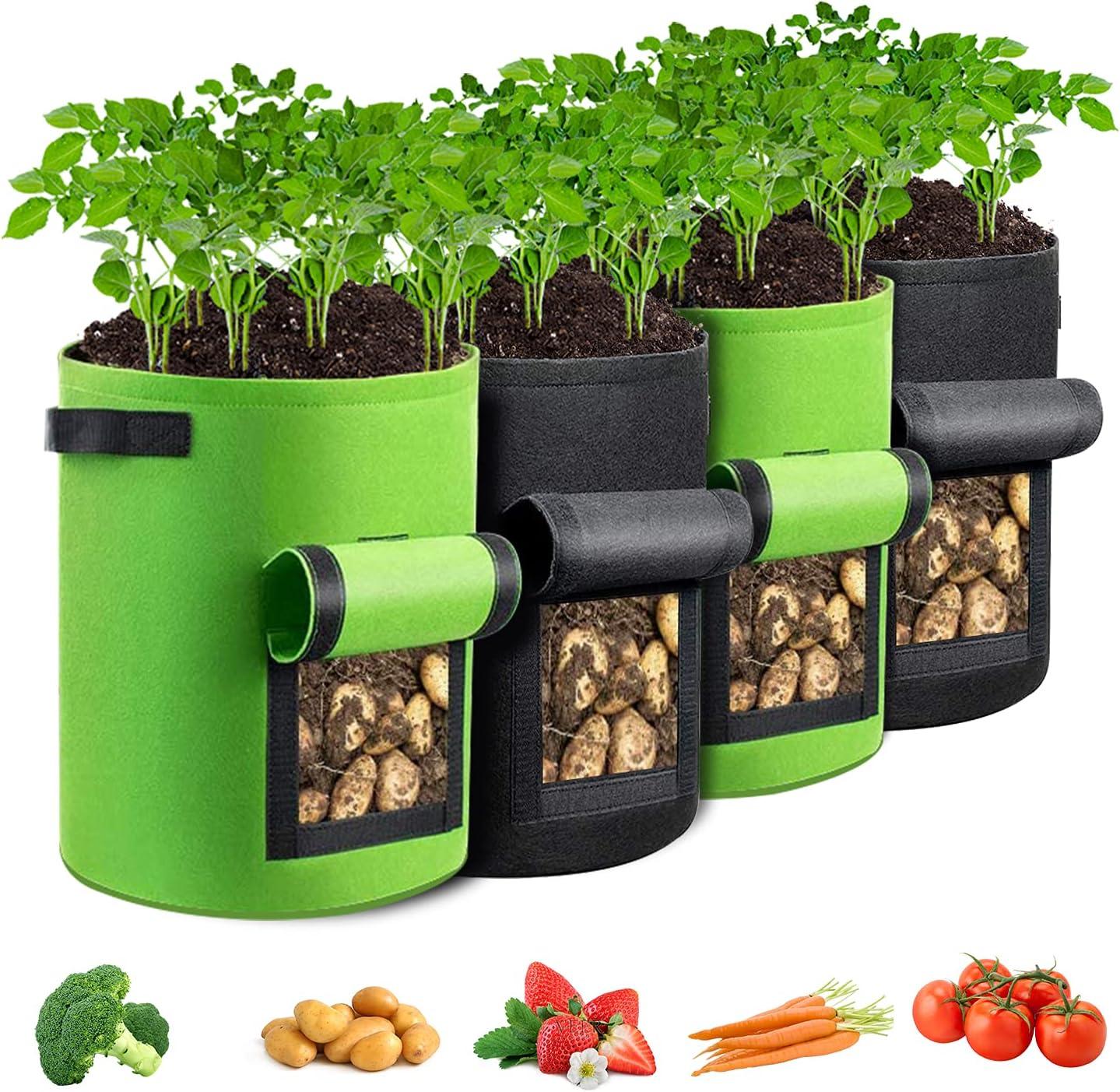 GORDITA Grow Bags- 4 Pack Potato Grow Bags with Flap- 10 Gallon Potato Planter Bags- Fabric Pot Bags with Handles- Garden Planter Bags with Harvest Window for Potato Tomato and Vegetables