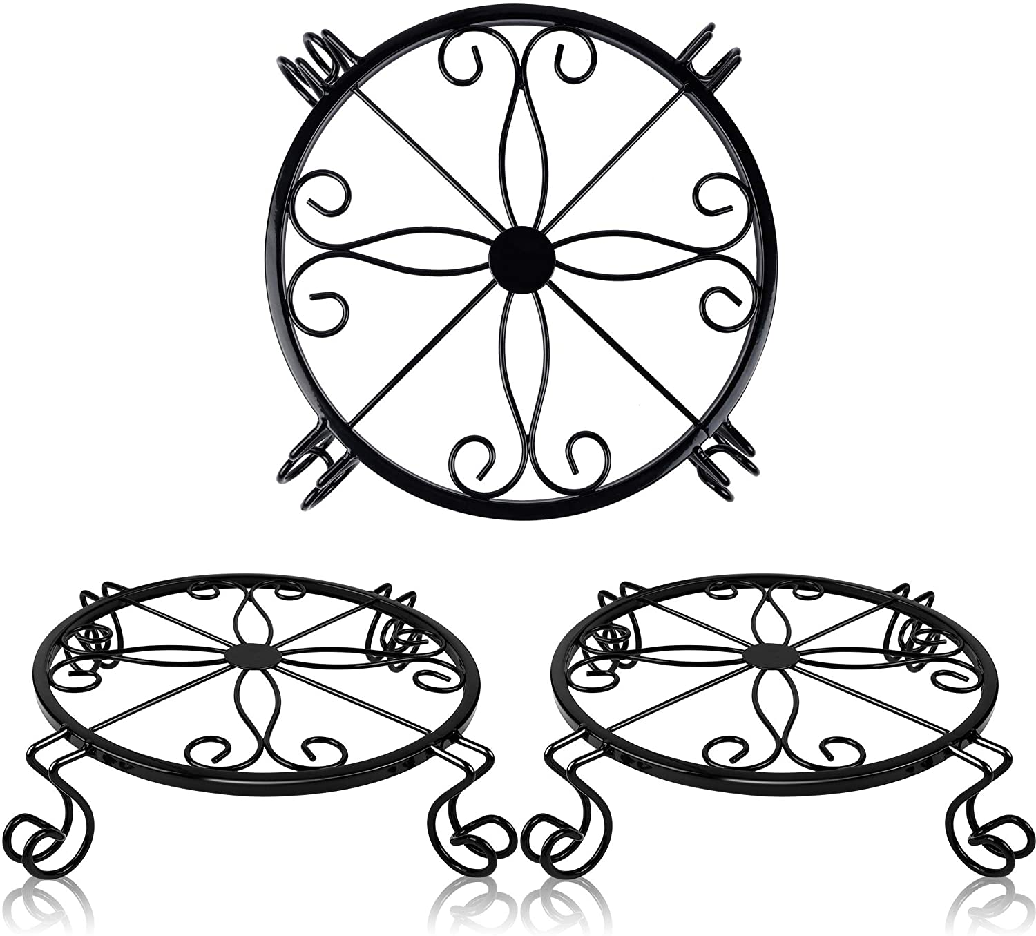 yosager 3 Pack Metal Plant Stands for Flower Pot, Heavy Duty Potted Holder, Indoor Outdoor Metal Rustproof Iron Garden Container Round Supports Rack for Planter