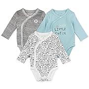 Baby Boy or Baby Girl Bodysuit Set, 3-Pack Long Sleeve Kimono Bodysuits, 9 Month