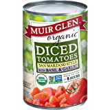 Muir Glen Canned Tomatoes, Organic Diced Tomatoes with Basil & Garlic, San Marzano Tomatoes, No Sugar Added, 14.5 Ounce Can