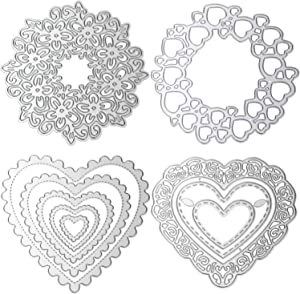 4 Pieces Heart Cutting Dies Love Heart Flower Embossing Stencils Templates for Scrapbooking, Card Making, Photo Album DIY Crafts and Valentine's Day Decor
