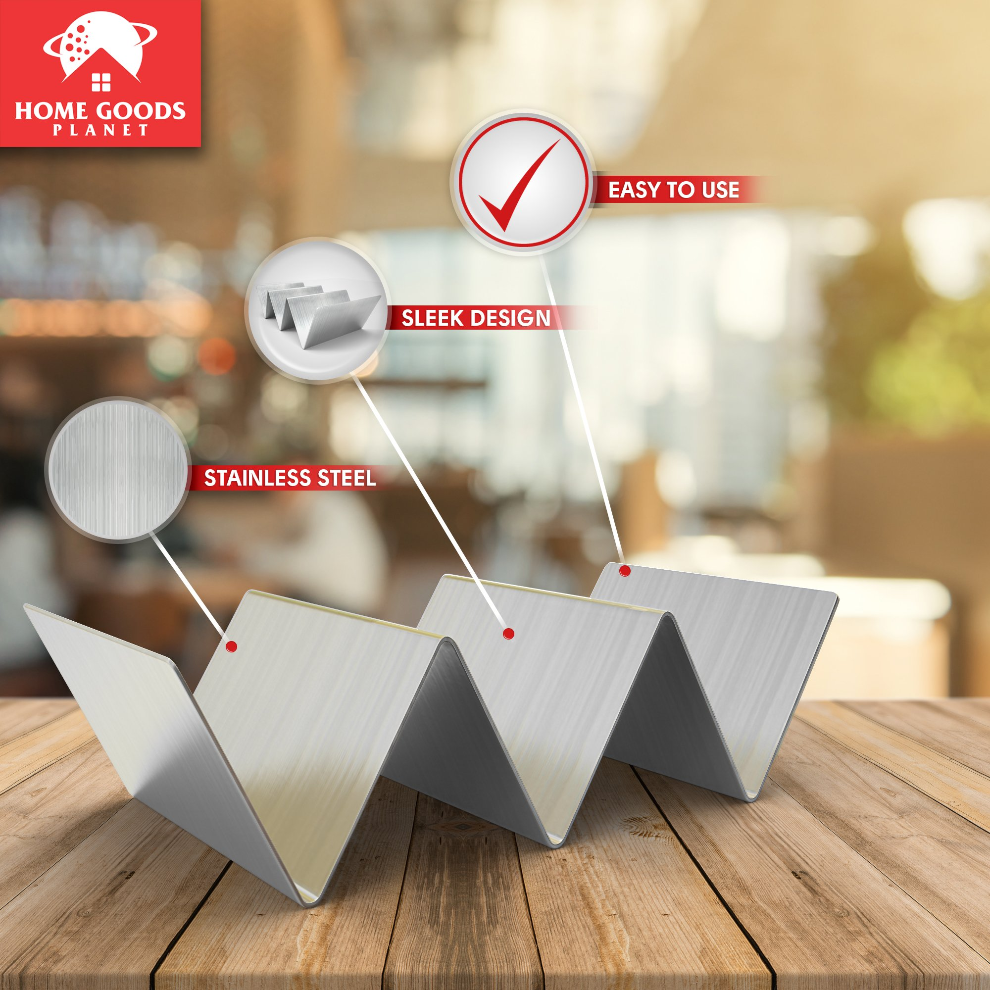 Taco Holder - Set of 2 Shell Racks - Stainless Steel Durable Taco Stand Tray - Ideal for Hard or Soft Shell Tacos - Oven & Dishwasher Safe Tacos Serving Tray or Taco Platter - Includes Recipe e-book by Home Goods Planet (Image #2)