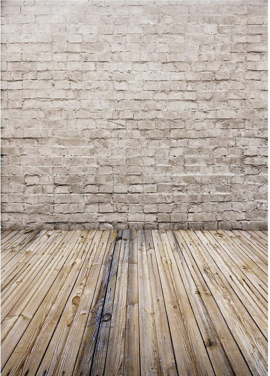 7x5 FT White Brick Wall Fabric Photography Backdrop Baby Wooden Floor Photo Background Studio Prop 97-44