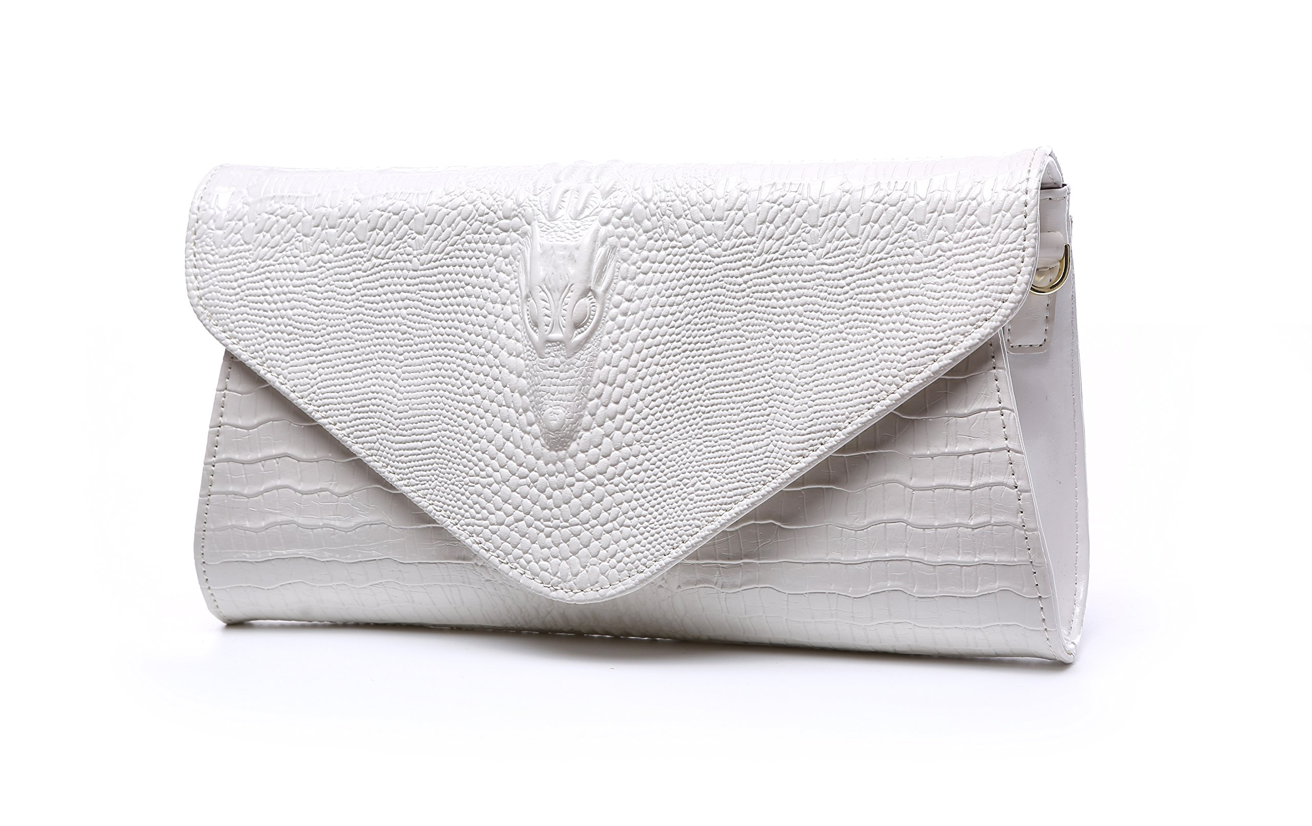 Bidear Envelope Clutch Purse Genuine Leather Party Handbag Evening Bags for Women (Leather-White)
