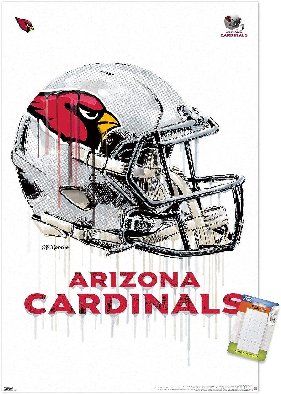 "Trends International NFL Arizona Cardinals - Drip Helmet 20 Wall Poster, 22.375"" x 34"", Poster & Mount Bundle"