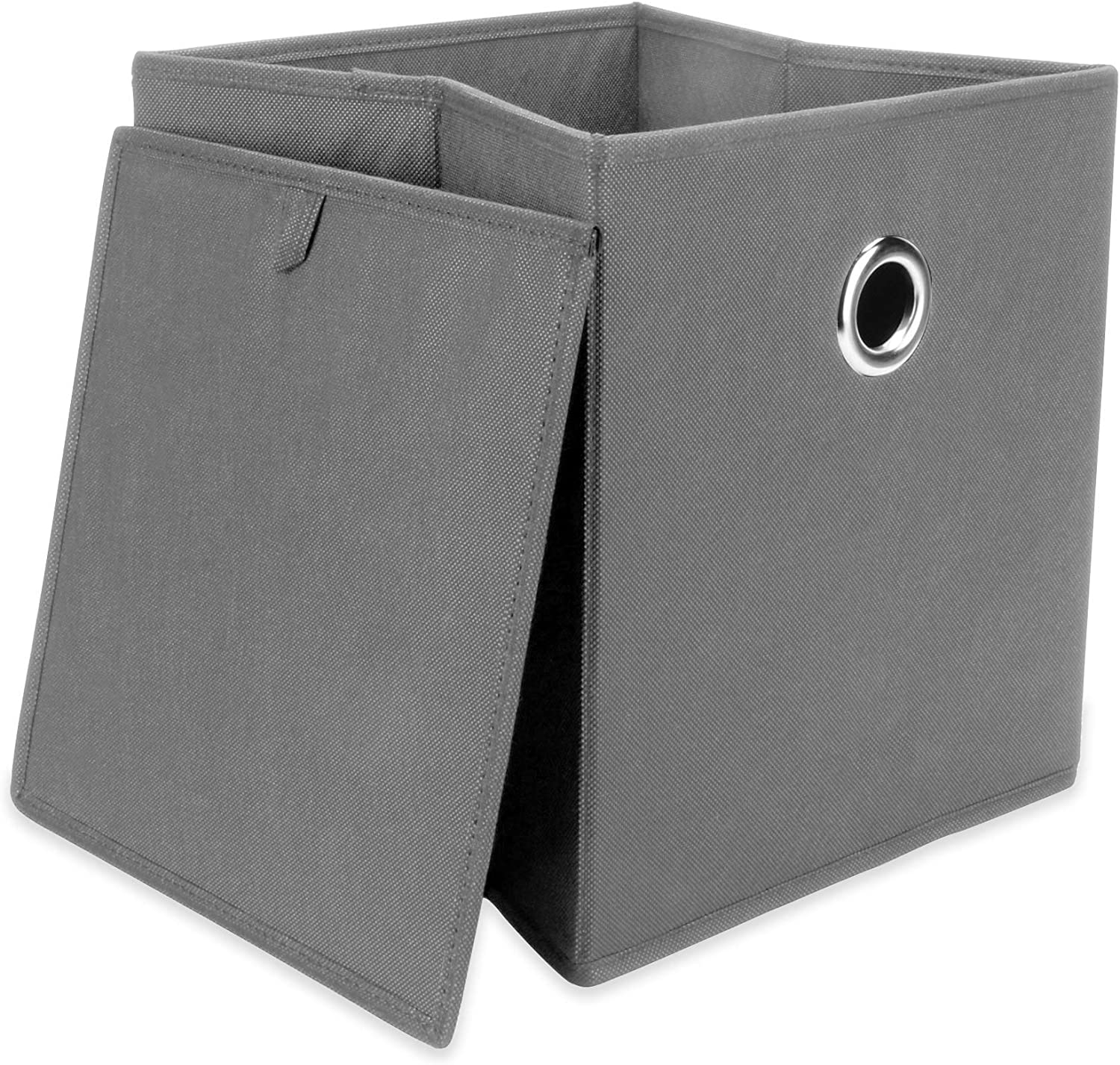 Set of 6 Collapsible Storage Boxes | Foldable Boxes for Bedroom & Home Storage | Fabric Organiser Baskets | Book, DVD and Clothes Storage | M&W (Grey)
