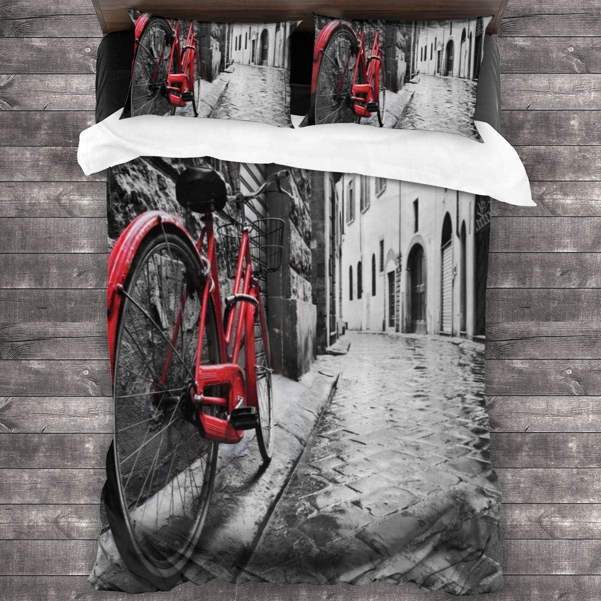 3 Piezas Juego Funda De Diseño Personalizado,Bicicleta clásica en la calle de adoquines en la ciudad italiana Foto de ocio,Ropa de Cama Set 1 Edredón 2 Fundas de Almohada Microfibra jueg(200*200cm): Amazon.es: