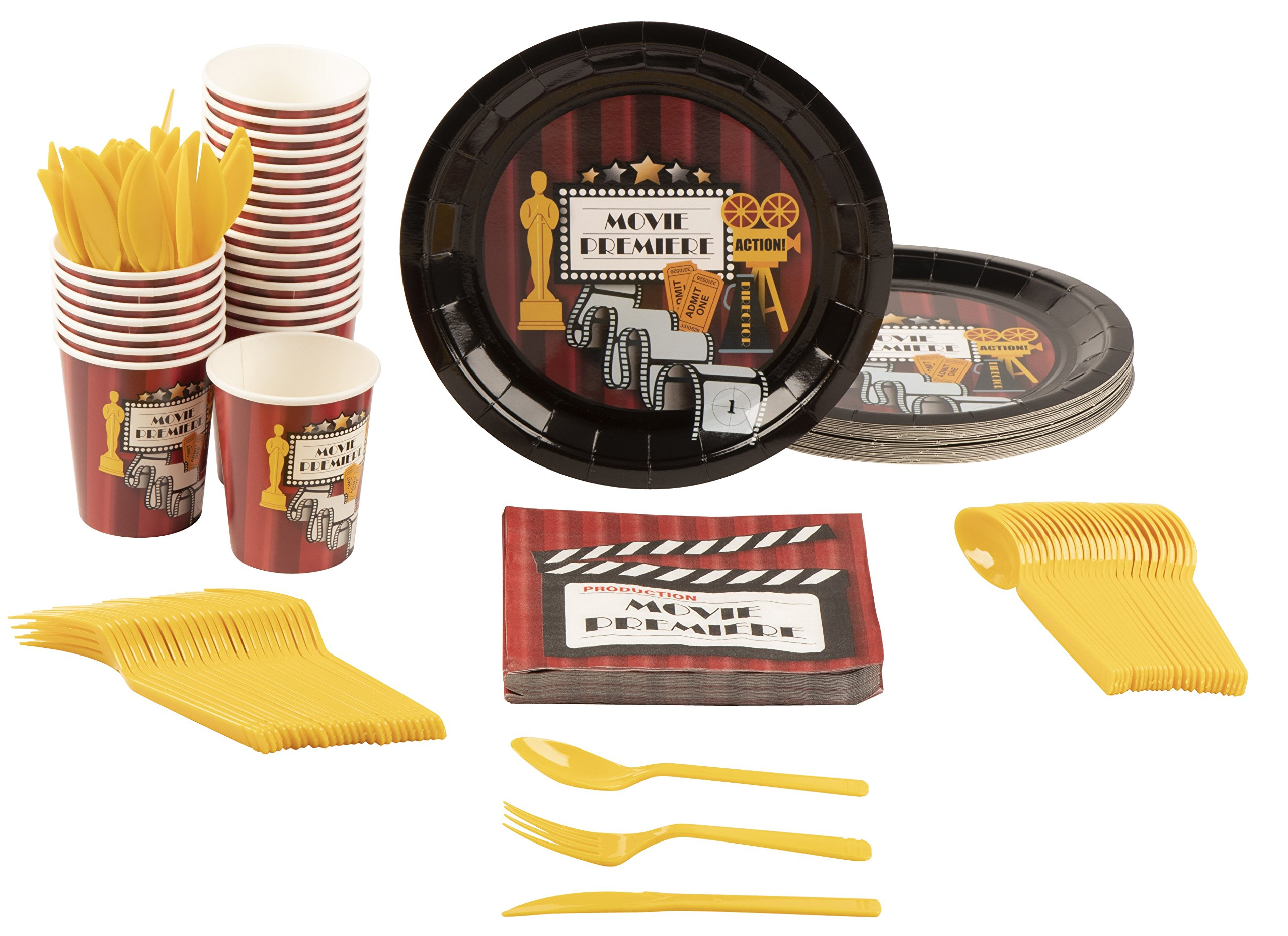 Disposable Dinnerware Set - Serves 24 - Hollywood Party Supplies for Kids Birthdays, Movie Nights, Includes Plastic Knives, Spoons, Forks, Paper Plates, Napkins, Cups by Blue Panda