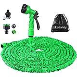 Gartenschlauch Lusanity 100FT Erweiterung Garten Wasserschlauch Rohr mit 7 Funktion Spritzpistole Erweiterbar Flexible Magic Schlauch Anti-Leckage Leichte Einfache Lagerung - Grün