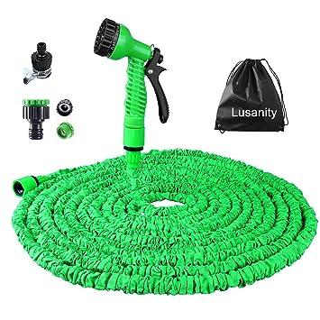 Gartenschlauch Lusanity 100FT Erweiterung Garten Wasserschlauch Rohr Mit 7  Funktion Spritzpistole Erweiterbar Flexible Magic Schlauch Anti