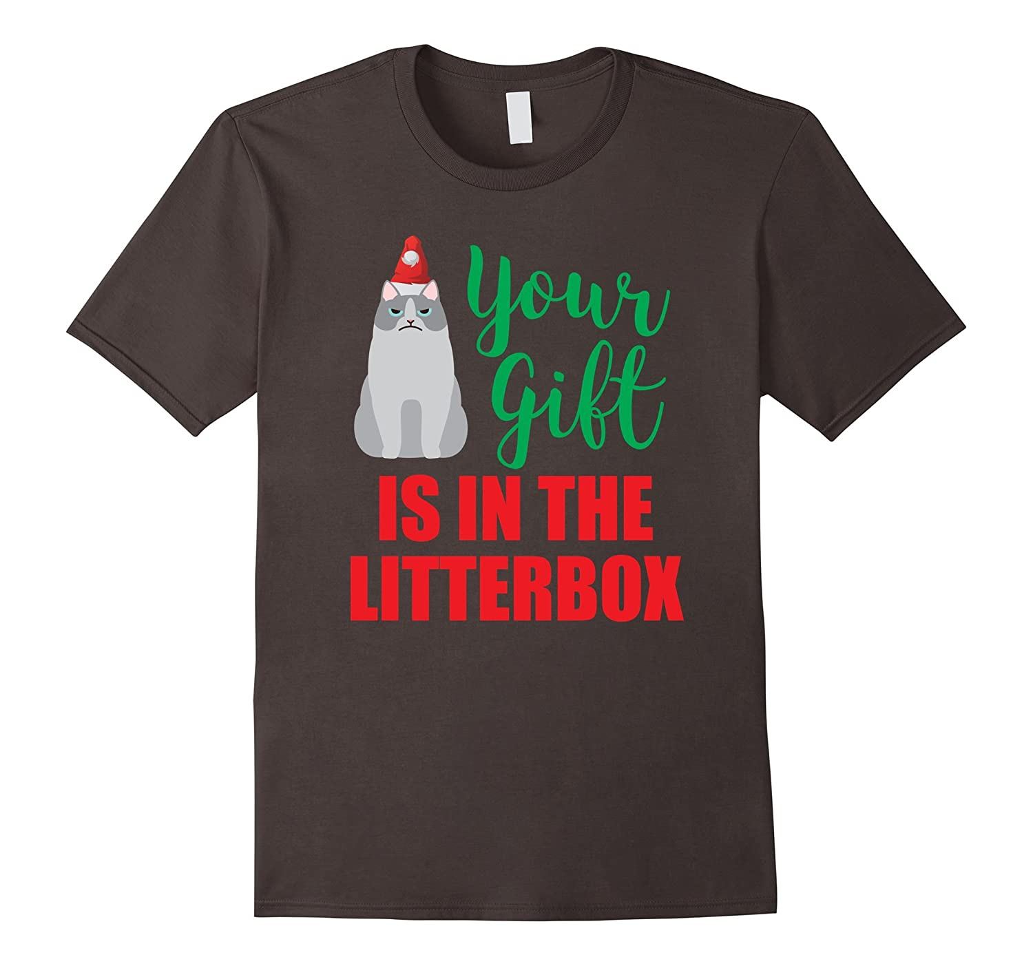 Your Gift is in the Litterbox funny Xmas Cat T-Shirt-TH