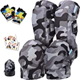 Innovative Soft Kids Knee and Elbow Pads with Bike Gloves   Toddler Protective Gear Set w/Mesh Bag& Sticker   Comfortable& Fl