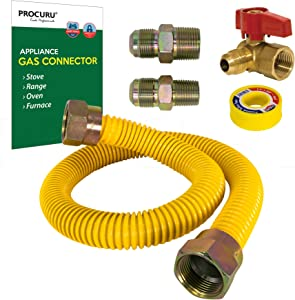 """PROCURU 5/8"""" OD x 24"""" Length Gas Flex Line Connector Kit with 3/4"""" Angle Valve for Stove Range, Furnace, WeatherProof Flexible Stainless Steel Pipe with SafeGuard Coating"""