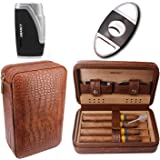 AMANCY Premium Brown Leather Cigar Travel Case Humidor W/Cutter Lighter Set