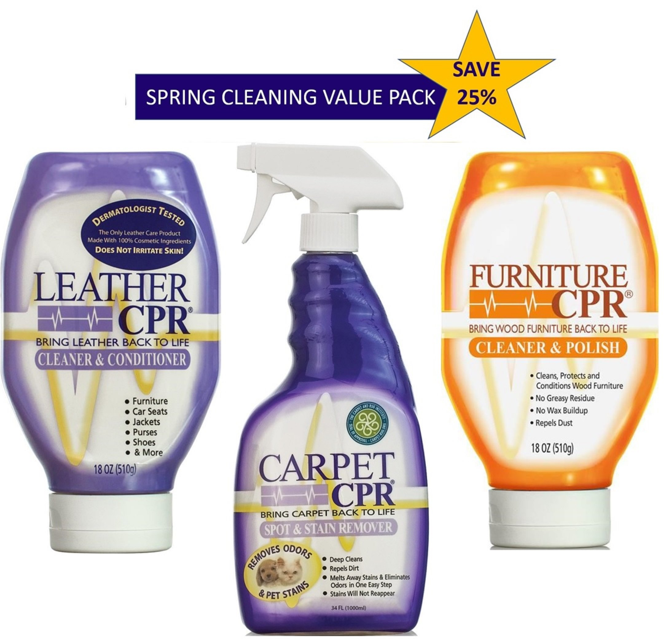 Leather-Carpet-Furniture CPR - Spring Cleaning Value Pack – Clean & Condition Leather, Treat Carpet Stains, and Spruce Up Your Wood Furniture With This 3-in-1 Savings by CPR Cleaning Products (Image #1)
