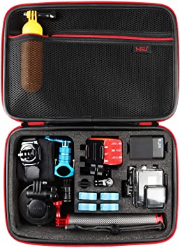 Amazon Com Large Carrying Case For Gopro Hero 9 2018 Hero 8 7 Black Hero6 5 4 Lcd Black Silver 3 3 2 And Accessories By Hsu With Fully Customizable Interior Carry Handle And Carabiner Loop Camera Photo