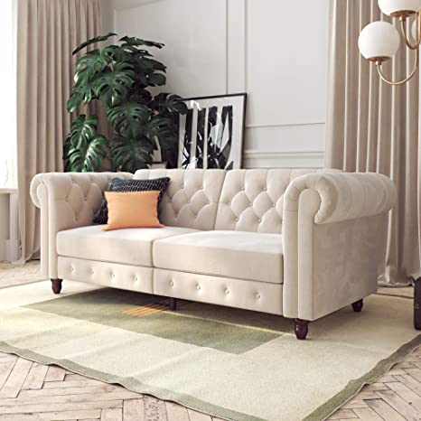 DHP Felix Chesterfield Sofa, Multi-Position Design, Ivory Velvet Futon,