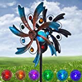 ALLADINBOX 57 Inch Solar Wind Spinner Blue Metal Garden Decor with Multi Color Changing LED Solar Powered Glass Ball Wind Scu