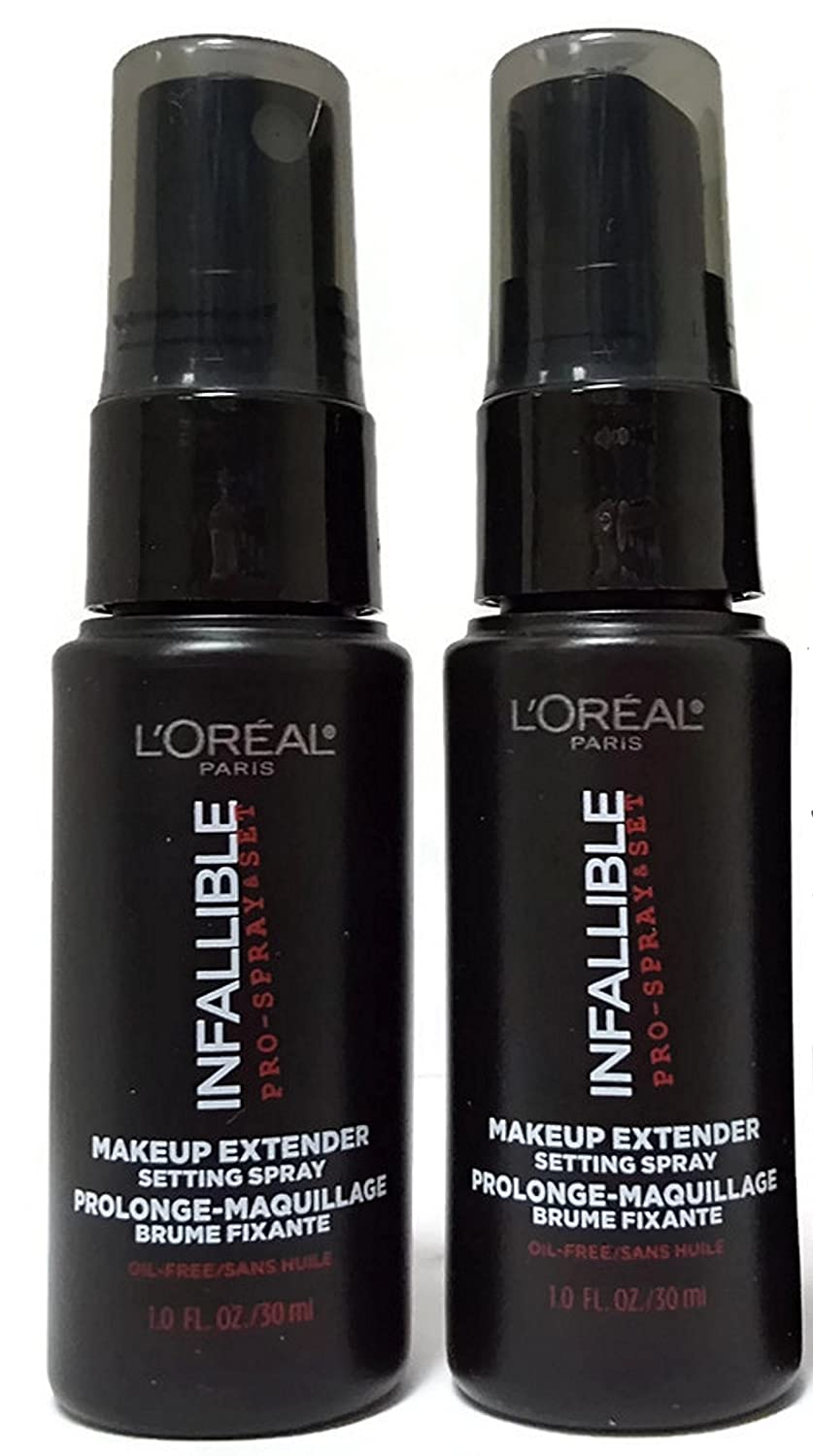 L'Oreal Paris Cosmetics Infallible Pro-Spray and Makeup Extender, Setting Spray,Travel size 30 ml/1.0 fluid ounce, (Pack of 2) by L'Oreal Paris