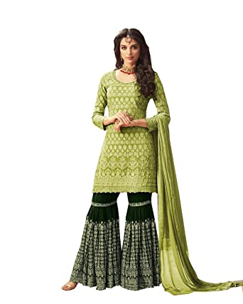 3254261ac3 ziya Women's Collection Indian Pakistani sharara Palazo Suit MOHINI (Green,  ...