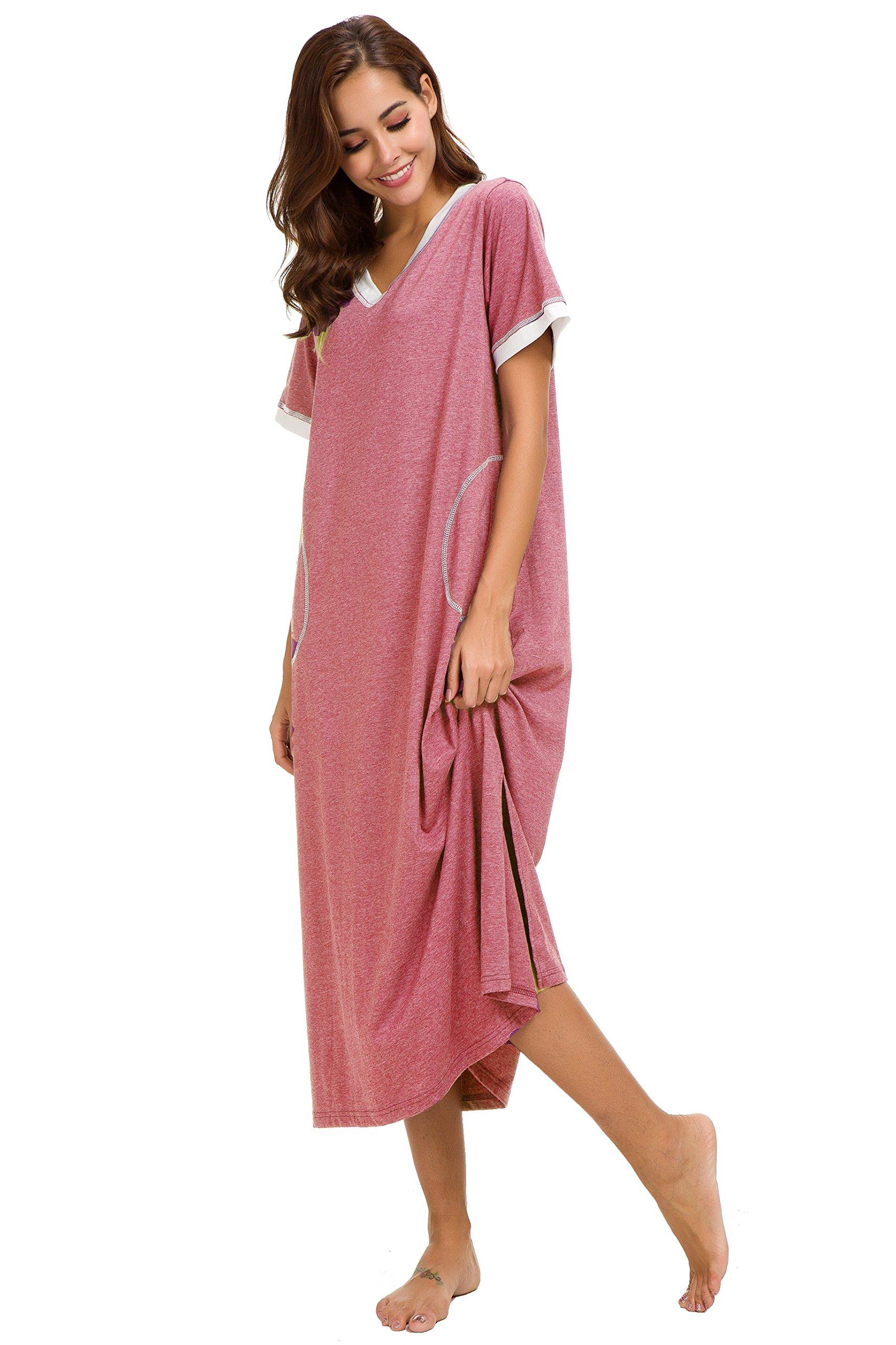 Aviier Supersoft Maxi Sleepshirt with Pockets, Nightgowns for Women Short Sleeve Cotton Nightshirts Sleepwear (XXL, Red) by Aviier (Image #2)