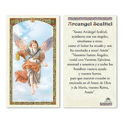 Oracion al Arcangel Sealtiel para Obtener un Favor Especial Tarjeta de Rezo Laminada con Acentos Dorados