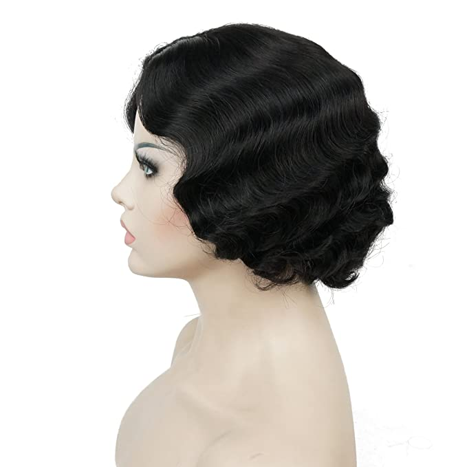1920s Hairstyles History- Long Hair to Bobbed Hair Lydell Vintage Cosplay Party Wig Short Finger Wavy Flapper Hairpiece +Free Wig Cap (#2 Natural Black) $24.98 AT vintagedancer.com