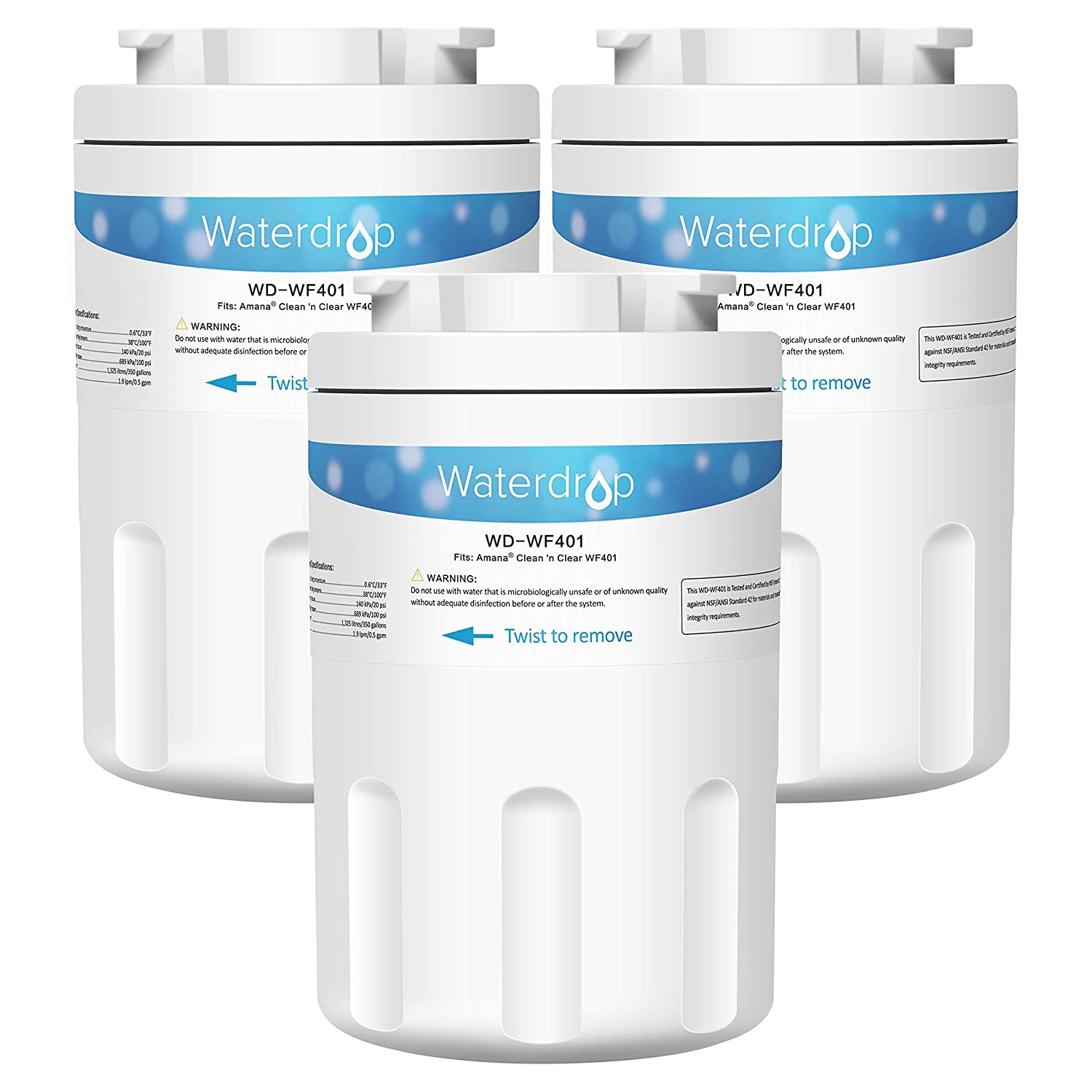 Waterdrop Refrigerator Water Filter, Compatible with Amana Clean N Clear WF401, WF40, 12527304, 46-9014, 469014, Pack of 3