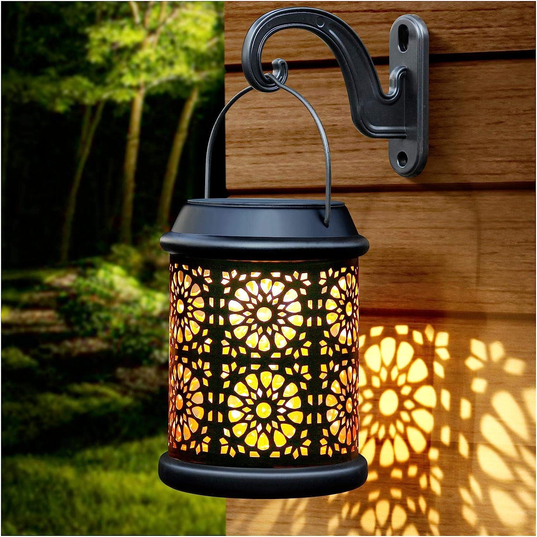 DenicMic Solar Lantern Lights Outdoor Hanging Solar Lanterns Metal Table Lamp with Handle & Hook Waterproof, 25 Lumen Warm White LED Lighting Decor for Garden, Patio, Backyard, Porch, Walkway (1Pack)