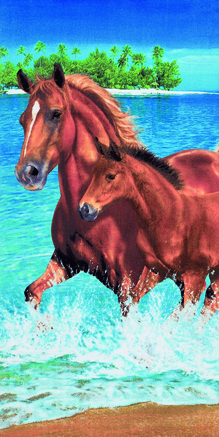 Horses in the water velour brazilian beach towel 30x60 inches Dohler AF-958