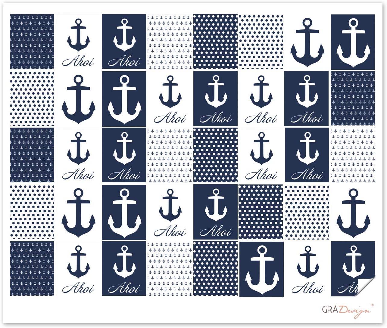 Fliesenaufkleber für das Bad Set Ahoi Anker blau Fliesensticker zum Aufkleben