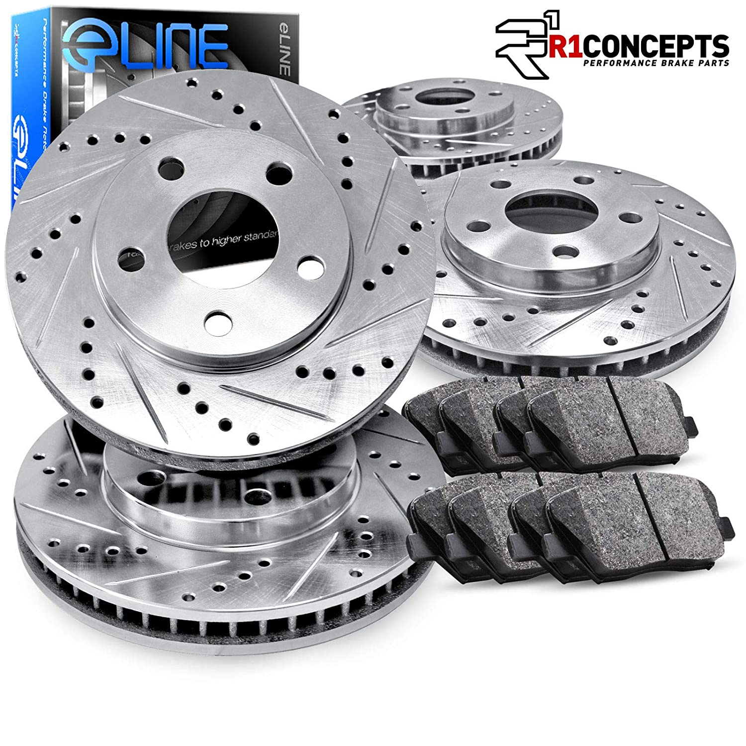Fit 1995-1999 BMW M3 Front Rear Sport Black Drill Slot Brake Rotors+Ceramic Pads