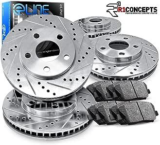 Ceramic Brake Pads For 2005 Chrysler 300 Front Rear eLine Plain Brake Rotors