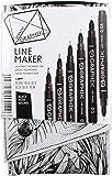 Derwent 2302206 Graphik Line Maker Drawing Pens - Black, Pack of 6