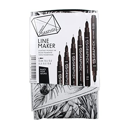 Derwent 2302206 Graphik Line Maker Drawing Pens, Black, Pack of 6-Best-Popular-Product