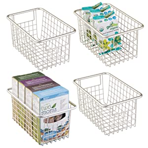 """mDesign Modern Farmhouse Deep Metal Wire Storage Organizer Bin Basket with Handles for Kitchen Cabinets, Pantry, Closets, Bedrooms, Bathrooms, Laundry Rooms, Garages - 5.25"""" High, 4 Pack - Satin"""