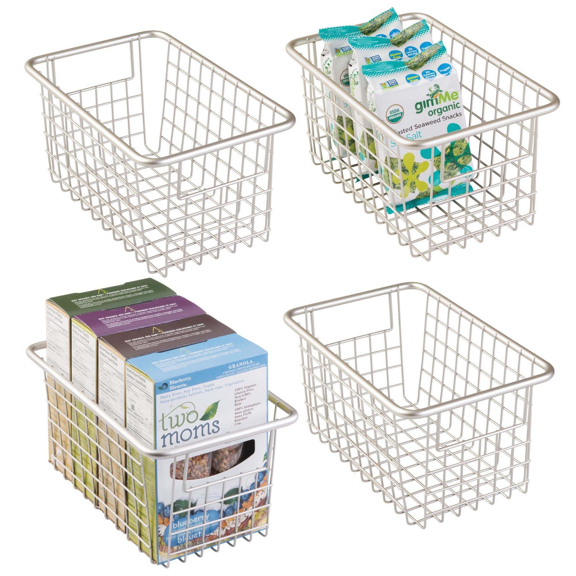 mDesign Household Wire Storage Organizer Bin Basket with Built-In Handles for Kitchen Cabinets, Pantry, Closets, Bedrooms, Bathrooms - Deep, Pack of 4, Satin