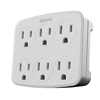 Woods 41196 Wall Adapter with 6 Grounded Outlets, White